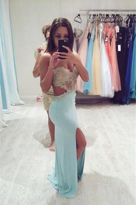 Gold Lace Appliqued Top Blue Cutout Waist Jersey Prom Dress