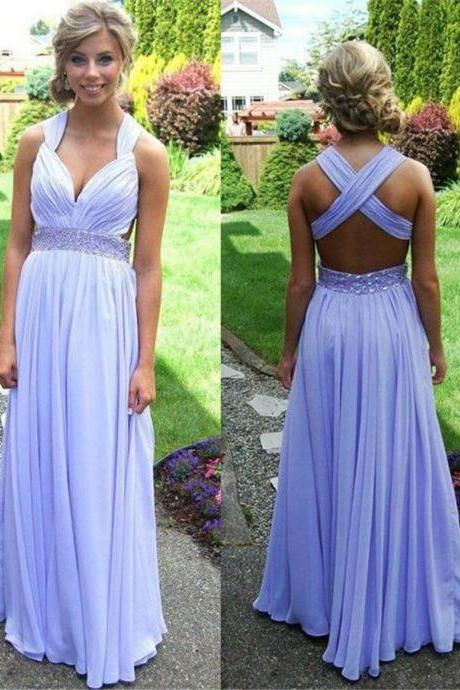Jeweled Empire Waist Long Lavender Crisscross Prom Dress 2016
