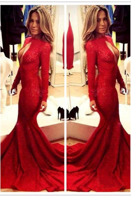 Sexy Keyhole Bust Red Long SLeeves Lace Mermaid Gown