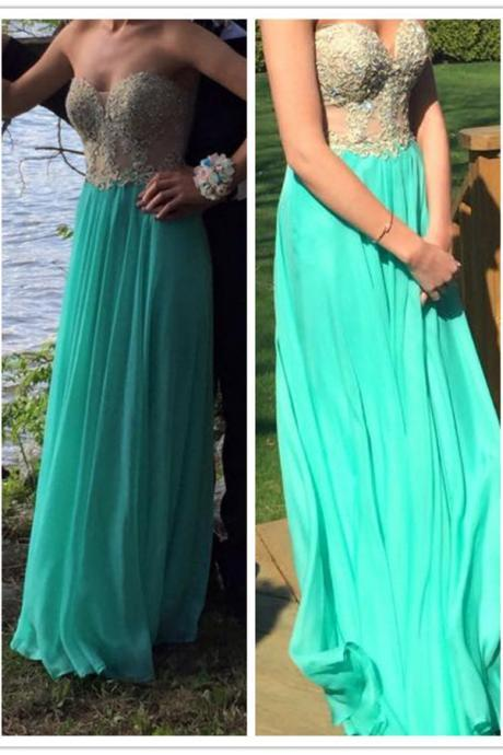 Gold Lace Appliqued Illusion Top Blue Long Prom Dress 2016