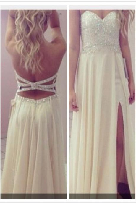 Cream Long Sequined Top Strapless Slit Prom Dress 2016 Cheap