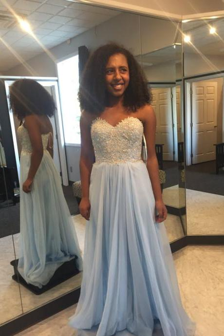 Light Blue Sequined Lace Top Strapless Chiffon Prom Dress