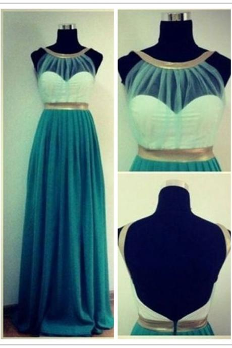 White Blue illusion Halter Top Long Pleated Evening Dress