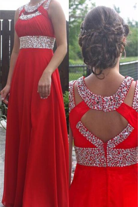 Red Pleated Sequined Straps Long Prom Dress Cheap