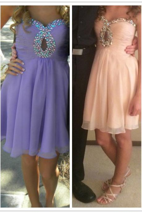 Multi-colors Beaded Keyhole Top Purple Short Prom Dress