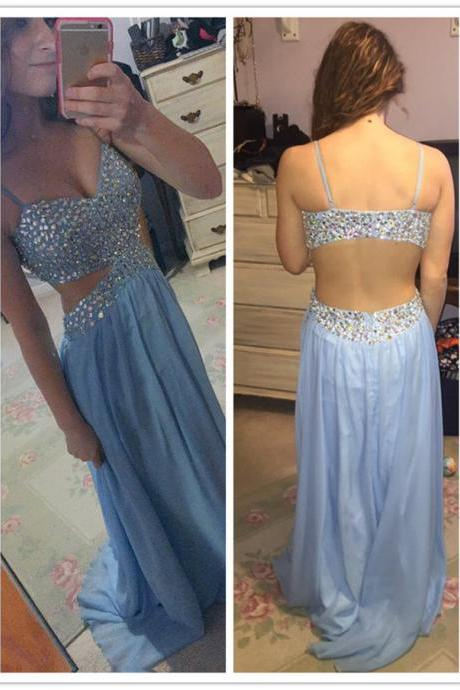 Sexy Cutout Waist Light Blue Beaded Top Open Back Prom Dress
