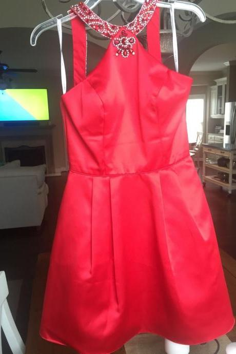 Beaded Neckline Short Red Satin Homecoming Dress 2016
