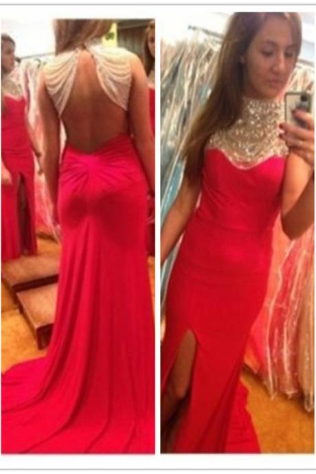 Elegant Red Jeweled High Neck Open Back Slit Jersey Prom Dress